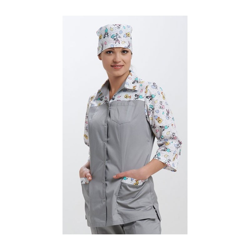 Куртка медицинская женская  Молодежная - прямая кокетка (основа однотонная)