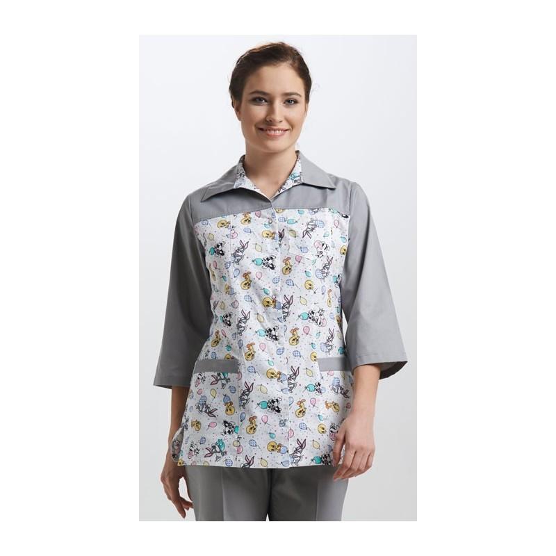 Куртка медицинская женская Молодежная - прямая кокетка (основа принт)